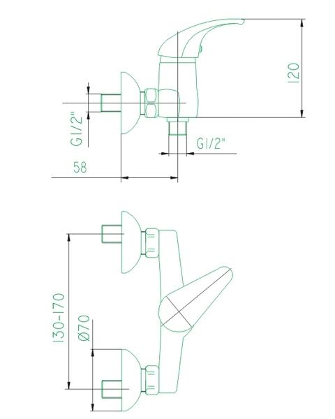 Bateria BARYT natryskowa ścienna chrom KFA 556-010-00