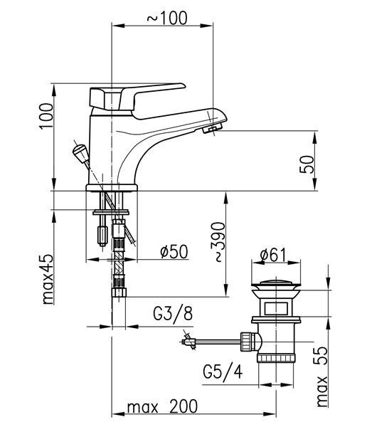 Bateria BERYL umywalkowa stojaca KFA 4802-815-00