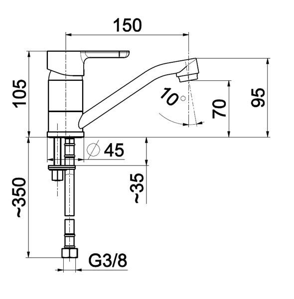 Bateria GRANAT umywalkowa stojąca z obrotową wylewką KFA 5522-915-00