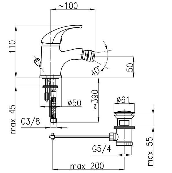 Bateria BARYT bidetowa chrom KFA 557-015-00