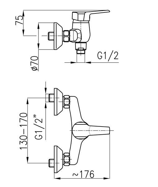 Bateria BERYL natryskowa ścienna b.natrysku KFA 4806-010-00