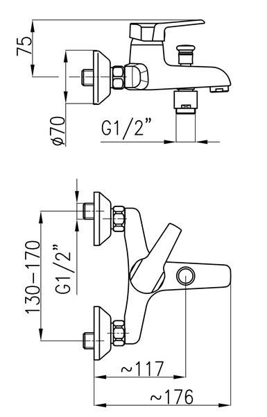 Bateria BERYL wannowa ścienna b.natrysku KFA 4804-010-00