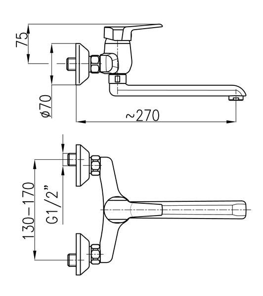 Bateria BERYL zlewozmywakowa ścienna chrom KFA 4800-910-00