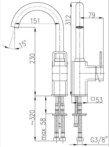 Bateria BRYLANT umywalkowo-zlewozmywakowa stojąca z wylewką KFA 4303-715-00