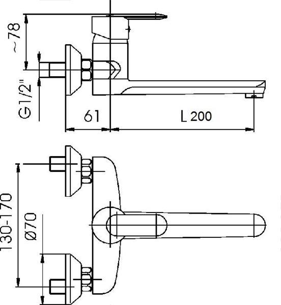 Bateria CYRKON zlewozmywakowa ścienna chrom KFA 580-910-00