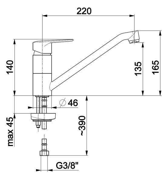 Bateria GERMAN zlewozmywakowa stojąca KFA 4513-915-00