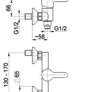 Bateria GRANAT natryskowa ścienna KFA 5526-010-00