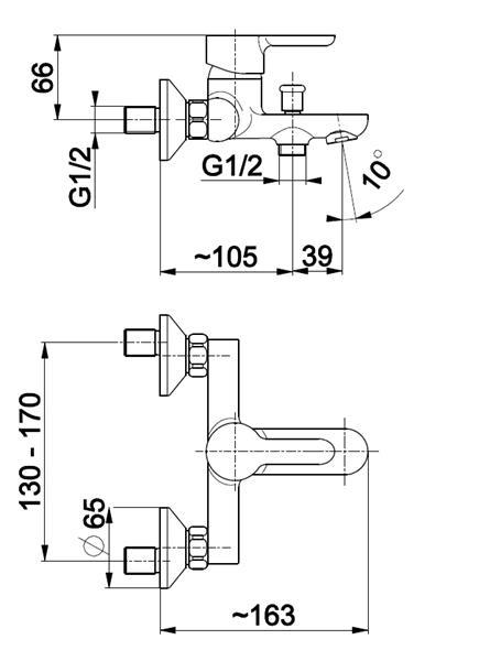 Bateria GRANAT wannowa ścienna KFA 5524-010-00