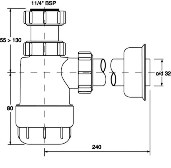"Półsyfon umywalkowy / bidet  butelkowy ""niski"" 11/4″x32mm bez spustu  [40] Mc Alpine HC2"