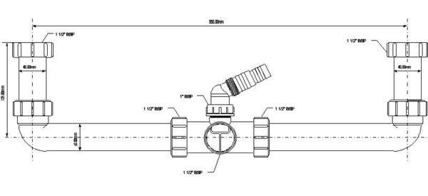 Przyłącze centralne 11/2″x40x11/2″ do syfonu zlewozmywakowego z podł. pralki lub zmywarki [50] Mc Alpine HC11