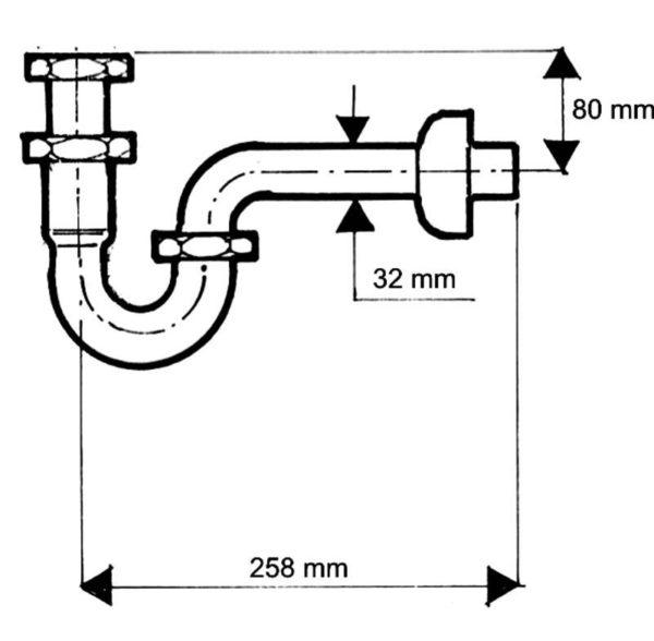 Syfon (półsyfon) umywalkowy rurowy 11/4″x32mm bez spustu chrom [50] Mc Alpine 215CB
