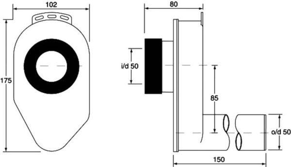 Syfon pisuarowy podtynkowy poziomy 2″x50mm [30] Mc Alpine HC-UP50