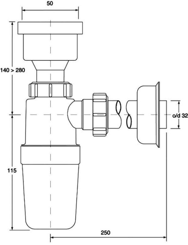 Syfon pisuarowy prosty 2″x32mm z uszczelką wargową [70] Mc Alpine HC2P