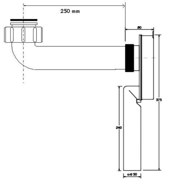 Syfon podtynkowy 11/4″x50mm z przedłużką 250mm chrom [20] dla niepełnosprawnych Mc Alpine SUP-CB