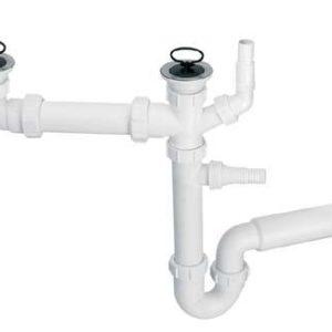 Syfon zlewozmywakowy podwójny rurowy 1.1/2×50 z podłączeniem do pralki lub zmywarki, przelew Mc Alpine HC7+DO2