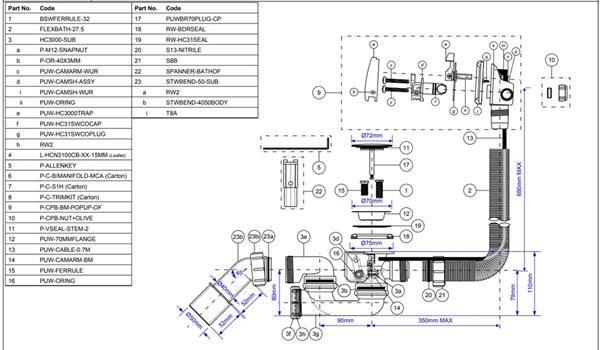 Zestaw odpływ-przelew.wannowy z odejściem 40/50mm z mech.napełniającym i autom. mosiądz chrom [5] Mc Alpine HCN3100CB-15MM