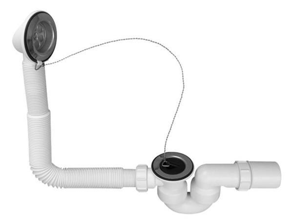 Zestaw odpływowo-przelewowy wannowy z odejściem 40/50mm, korek gumowy wraz z łańcuszkiem [40] Mc Alpine HC30-EX