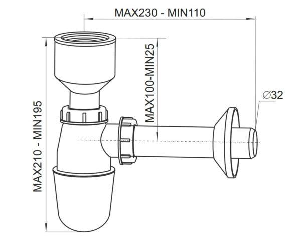 Syfon pisuarowy fi 32 Rawiplast 1710022