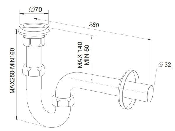 Syfon rurowy 32 umywalka/bidet sitko metalowe [30/op] Rawiplast A117M32