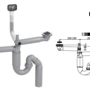 Syfon zlewozmywakowy rurowy, podwójny,70mm, korki gumowe,przelew, przył. pralka, podł. 40/50mm Rawiplast PL2-D5S45-01PL