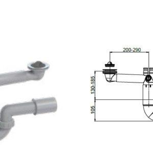 Syfon zlewozmywakowy rurowy, poj.,70mm,korek gumowy,przelew,przył. pralka,podł. 40/50mm Rawiplast PL1-D5S45-01PL