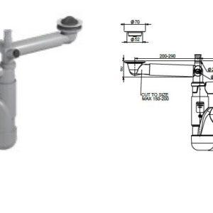 Syfon zlewozmywakowy,but. podwójny,70mm, korki gumowe, przył. pralki i przelew Rawiplast FL2-D5NNA-01PL