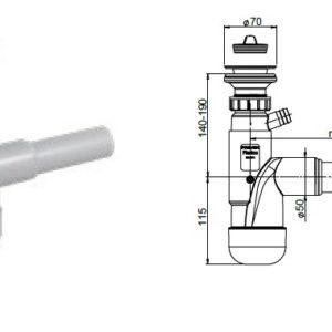 Syfon zlewozmywakowy,but.,poj.,70mm,korek gumowy,przył. do pralki, zmywarki Rawiplast FL1-D5NR4-01PL