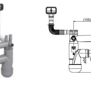 Syfon zlewozmywakowy,but.,poj.,70mm,korek gumowy,przył. pralka,zwywarka, przelew prostokątny Rawiplast FL1-D5SNA-01PL