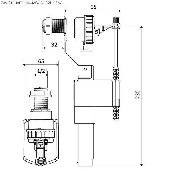 Zawór pływakowy napełniający do spłuczek tworz. 1/2″ KK-POL ZN2/105/0/T
