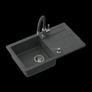 Zlewozmywak granitowy CZARNY 1-k 77×44 cm + bateria z elastyczną wylewką + syfon + dozownik