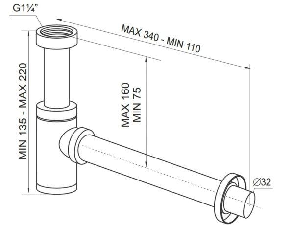 Półsyfon butelkowy ø 32 metalowy chromowany Prevex A12332M