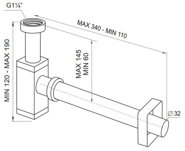 Półsyfon butelkowy ø 32 metalowy chromowany Prevex A12832M