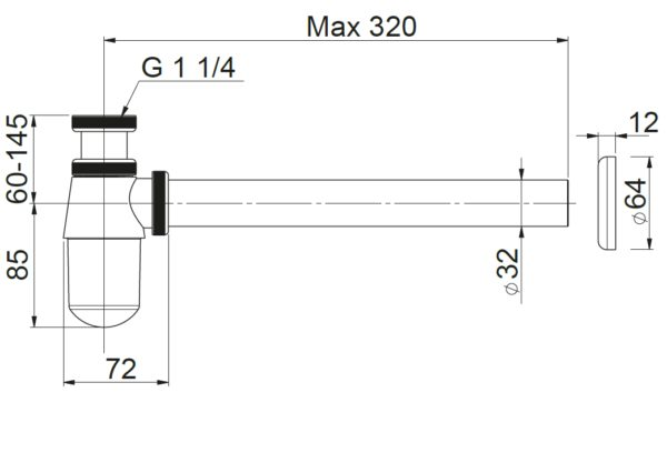 Półsyfon butelkowy ø 32 umywalka, bidet chrom Prevex A12032M