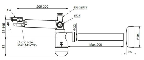 Półsyfon przyścienny umywalkowy teleskopowy Prevex 1710024